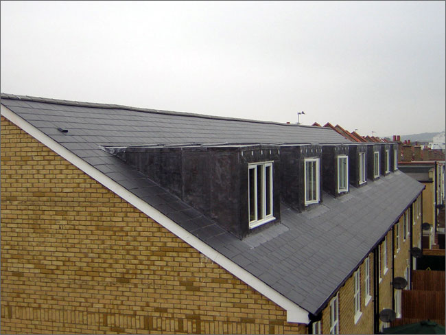 This picture shows the detail to the rear of the roof showing lead dormers