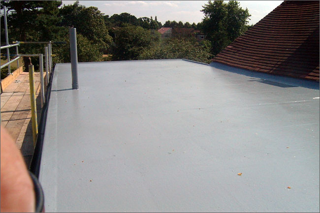 Shows the GRP covering on the second lower flat roof