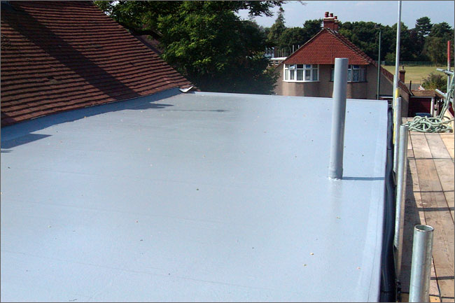 Lower rear flat roof renewed in GRP