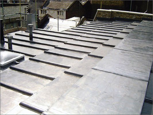 Middle section of the completed lead roof